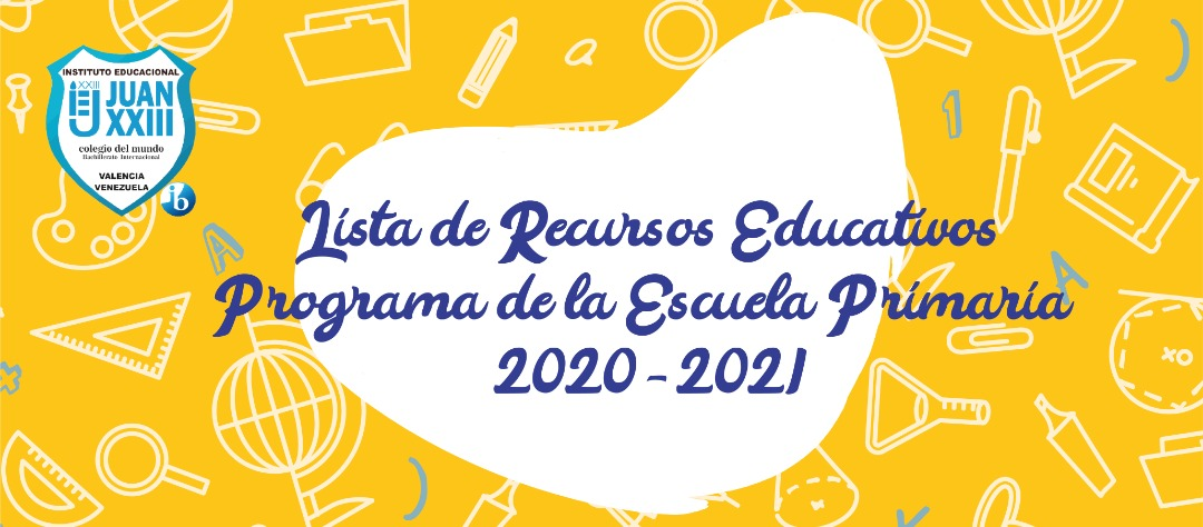 Lista de Recursos Educativos Programa de la Escuela Primaria 2020-2021